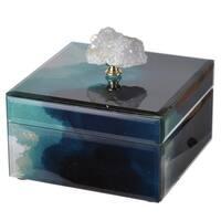 Bethany Green Wood/Glass 6-inch x 6-inch x 5-inch Box