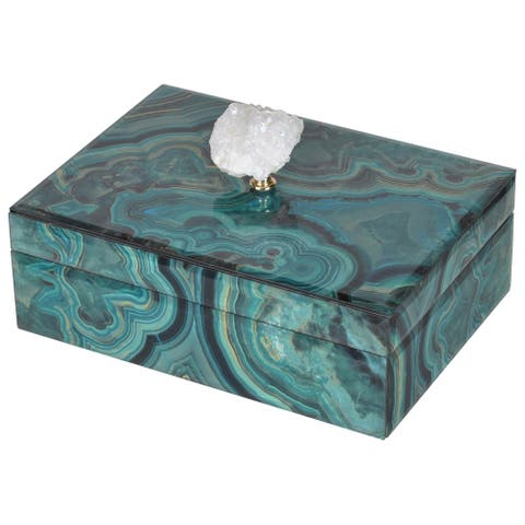A&B Home Bethany Large Blue and Green Marbled Decorative Box