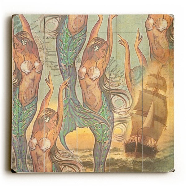 Mermaids Ship - Wood Wall Decor by Wade Koniakowsky