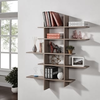 danya b five level asymmetric shelf weathered oak