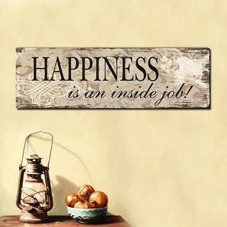 Wood Wall Hanging Sign Plaque Happiness