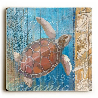 Turtle and Sea - Wood Wall Decor by ArtLicensing - Multi