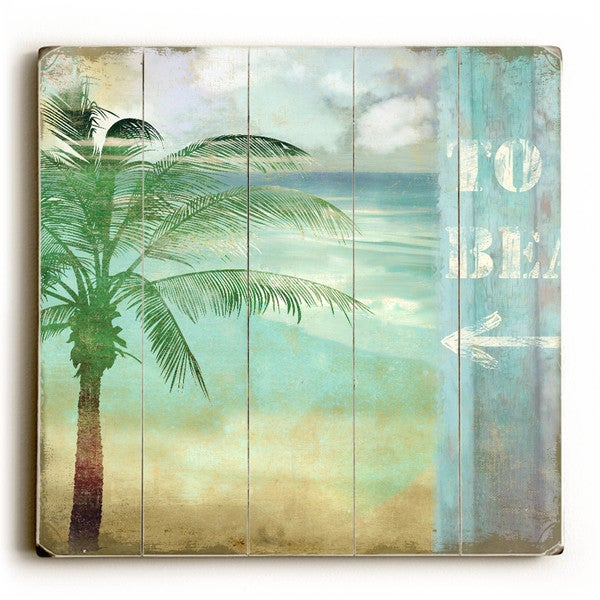 To Beach Palm Tree - Wood Wall Decor by ArtLicensing - Planked Wood Wall Decor