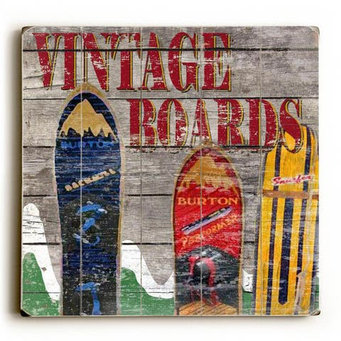Vintage Snowboards - Wood Wall Decor by Karen Williams