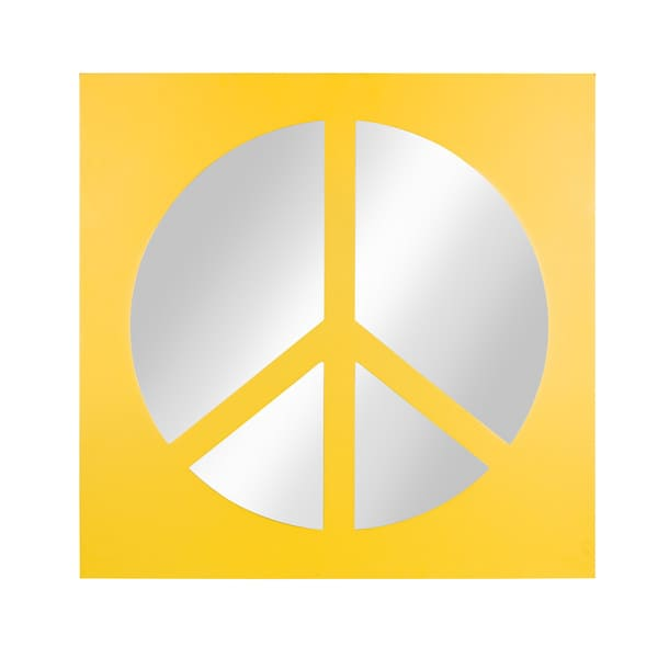 Kate and Laurel Peace Sign Icon Square Wall Accent Mirror, Yellow - 22x22