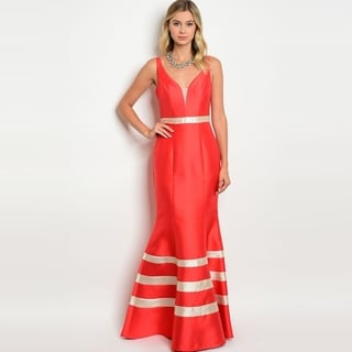 Shop The Trends Women's Sleeveless Taffeta Gown With Plunging Neckline