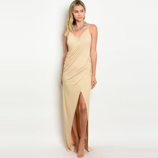 Shop The Trends Women's Spaghetti Strap Maxi Dress With V-Neckline And Surplice Drape Front (Option: Magenta)