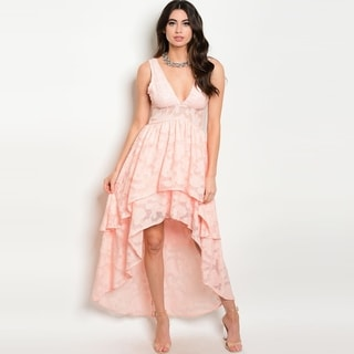 Shop The Trends Women's Sleeveless Babydoll Dress With Empire Waist And Hi-Low Hem