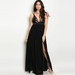 Shop The Trends Women's Spaghetti Strap Chiffon Maxi Dress With Plunging Neckline And Crochet Lace Detail
