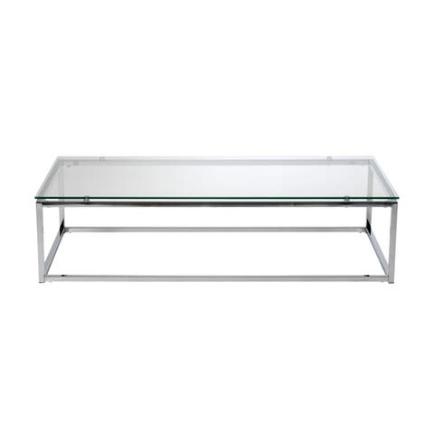 Euro Style Sandor Clear Glass Rectangle Coffee Table with Chrome Base