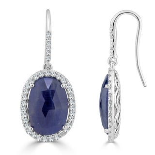 Auriya 14k White Gold 15ct Blue Sapphire and 1 1/10ct TDW Diamond Hook Halo Earrings