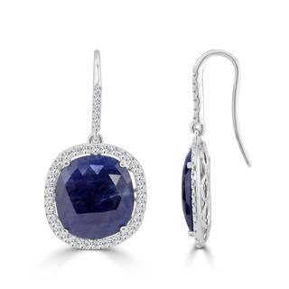 Auriya 14k White Gold 15ct Blue Sapphire and 1 1/10ct TDW Diamond Hook Halo Earrings|https://ak1.ostkcdn.com/images/products/16773269/P23081960.jpg?impolicy=medium