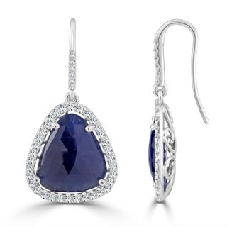 Auriya 14k White Gold 15ct Fancy-Cut Sapphire and 1 1/5ct TDW Diamond Halo Drop Earrings - Blue