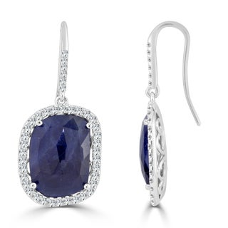 Auriya 14k White Gold 15ct Blue Sapphire and 1 1/5ct TDW Diamond Hook Halo Earrings