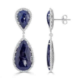 Auriya 14k White Gold 47ct Pear Shaped Blue Sapphire and Diamond Halo Drop Earrings