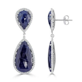 Auriya 14k White Gold 47ct Pear Shaped Blue Sapphire and Diamond Halo Drop Earrings|https://ak1.ostkcdn.com/images/products/16773654/P23081965.jpg?impolicy=medium