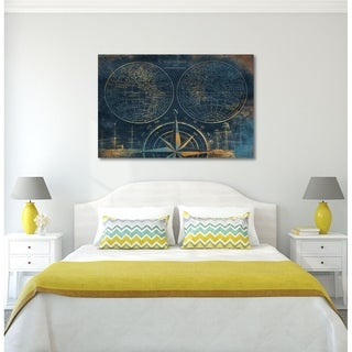 Courtside Market Golden Sea Blue Map Gallery Wrapped Canvas Wall Art - 24x30