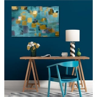 Courtside Market Squared Blue abstract Gallery Wrapped Canvas Wall Art - 12x18