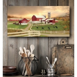 Courtside Market Red barn Farm Gallery Wrapped Canvas Wall Art - 12x24