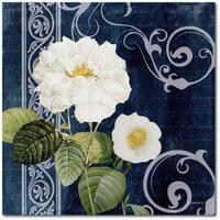 Courtside Market Sea Breeze Indigo Flower II Gallery Wrapped Canvas Wall Art - 24X24