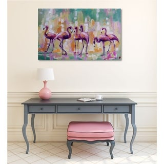 Courtside Market Flamingo Rondevu Gallery Wrapped Canvas Wall Art - 16x20