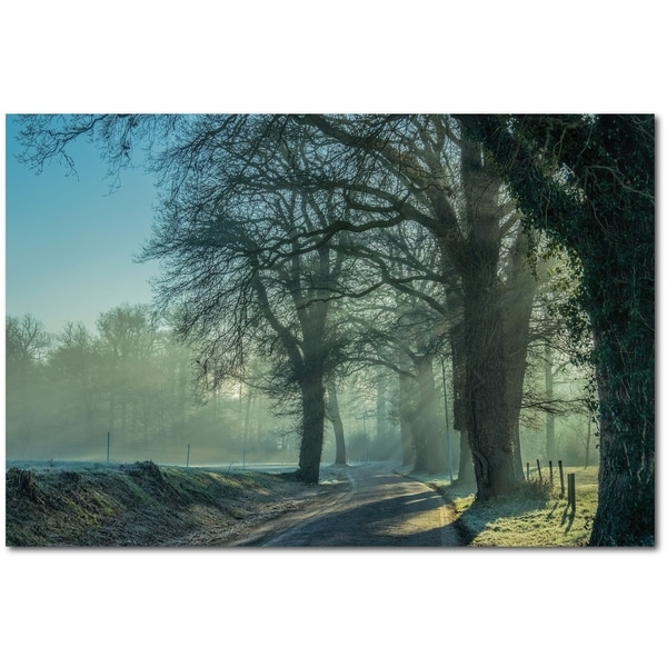 Courtside Market Cold Morning Road Gallery Wrapped Canvas Wall Art - 12x18