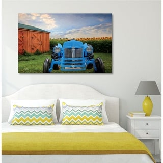 Courtside Market The Blue Tractor Gallery Wrapped Canvas Wall Art - 12x18