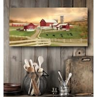 Courtside Market Red barn Farm Gallery Wrapped Canvas Wall Art - 24x48