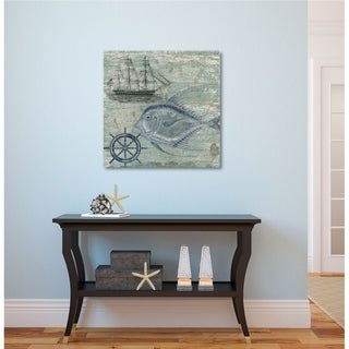 Courtside Market Deep Sea Blue Gallery Wrapped Canvas Wall Art - 16X16