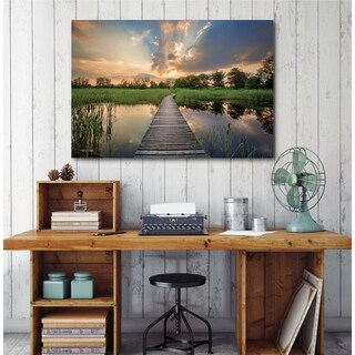 Courtside Market Sunset Dock Gallery Wrapped Canvas Wall Art - 12x18