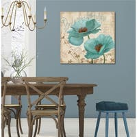 Courtside Market Blue Poppy I Gallery Wrapped Canvas Wall Art - 36x36