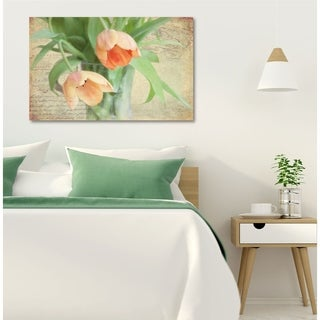 Courtside Market Peach Tulip Gallery Wrapped Canvas Wall Art - 24x36