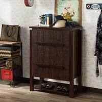 Furniture of America Selian Rustic Multi-shelf Vintage Walnut Shoe Cabinet