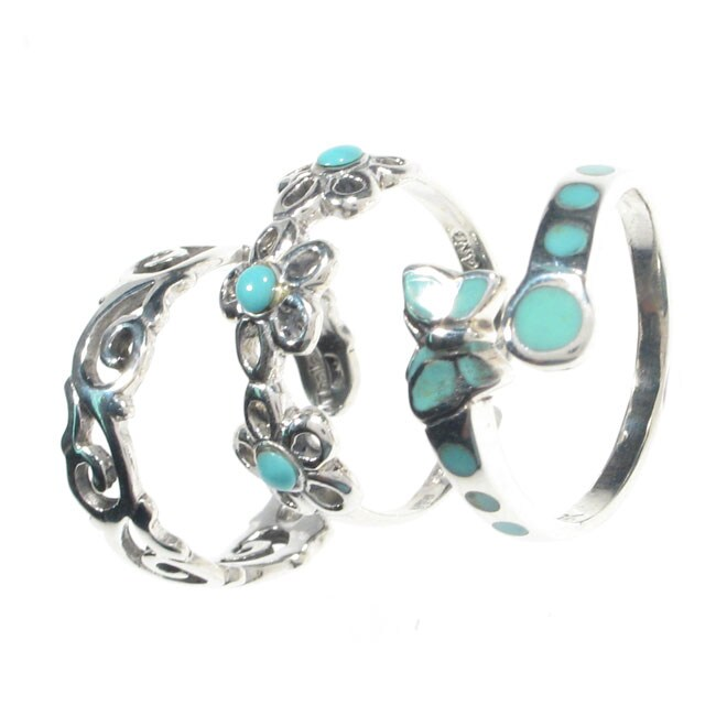 Journee Collection  Sterling Silver Turquoise Toe Ring Set