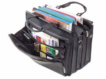 Solo Black Vinyl Triple-gusset Briefcase - Thumbnail 1