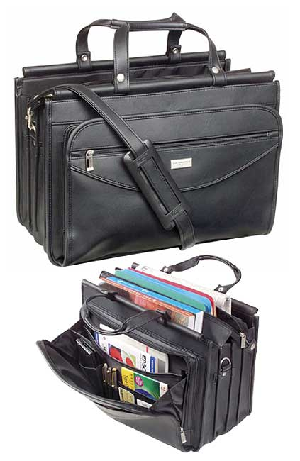 Solo Black Vinyl Triple-gusset Briefcase