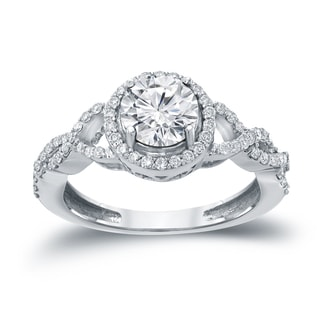 Auriya 14k Gold 1 3/8ct TDW Round Diamond Halo Engagement Ring ( H-I, I1-I2)