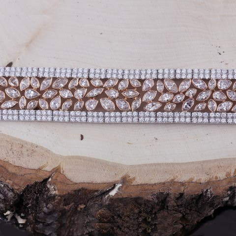 18k Two-Tone Rose Gold Unique 24 3/4ct TDW Triple-Row Fancy Champagne Diamond Tennis Bracelet by Auriya