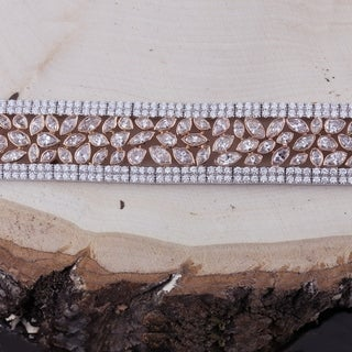 Auriya 18k Two-Tone Rose Gold 24 3/4ct TDW Triple-Row Fancy Champagne Diamond Tennis Bracelet