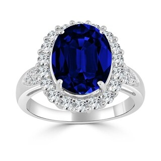 Auriya 14k Gold 5 1/5ct Blue and White Sapphire Halo Engagement Ring