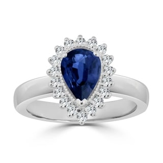 Auriya 14k Gold 1 1/2ct Pear-Shaped Blue Sapphire and Diamond Halo Engagement Ring