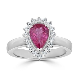 Auriya 14k Gold 1 1/2ct Pear-Shaped Pink Sapphire and Diamond Halo Engagement Ring