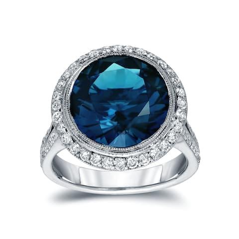 Auriya 14k White Gold 6 3/4ct TDW Round Blue Diamond Halo Engagement Ring