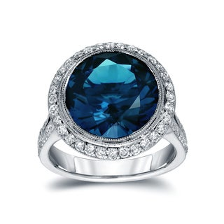 Auriya 14k White Gold 6 3/4ct TDW Round Blue Diamond Halo Engagement Ring