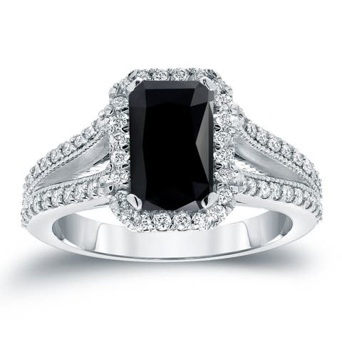 Auriya 18K Gold 2 1/2ctw Emerald-cut Halo Black Diamond Engagement Ring