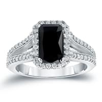 Auriya 18KT White Gold 2 1/2ctw Vintage Emerald-Cut Halo Black Diamond Engagement Ring