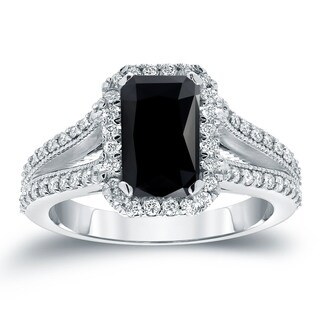Auriya 18k White Gold 2 1/2ct TDW Black Emerald Cut Diamond Halo Engagement Ring