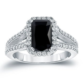 Auriya Vintage 2 1/2ctw Emerald Cut Black Diamond Halo Engagement Ring 18KT White Gold (More options available)