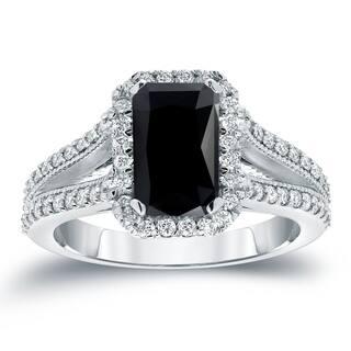 Auriya 2 1/2ctw Emerald-cut Halo Black Diamond Engagement Ring 18k Gold