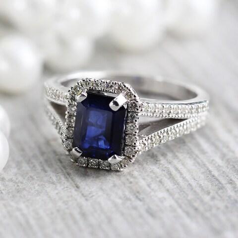 Auriya 18k White Gold 2ct Emerald Cut Sapphire and 1/2ctw Halo Diamond Engagement Ring
